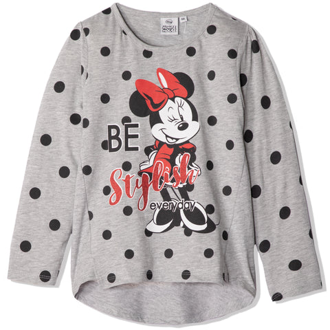 Disney Minnie Mouse Long Sleeve Cotton Top T Shirt - Girls 2-8 years - Grey