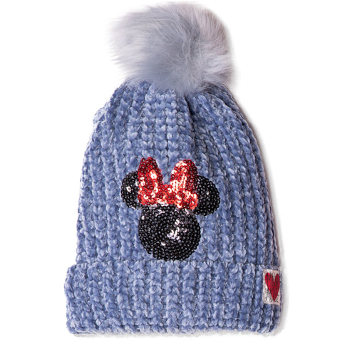 Disney Minnie Mouse Beanie Chenille Yarn Winter Hat with Pom Pom 2-8 Years - Blue