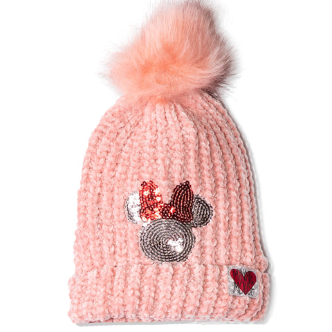 Disney Minnie Mouse Beanie Chenille Yarn Winter Hat with Pom Pom 2-8 Years - Pink