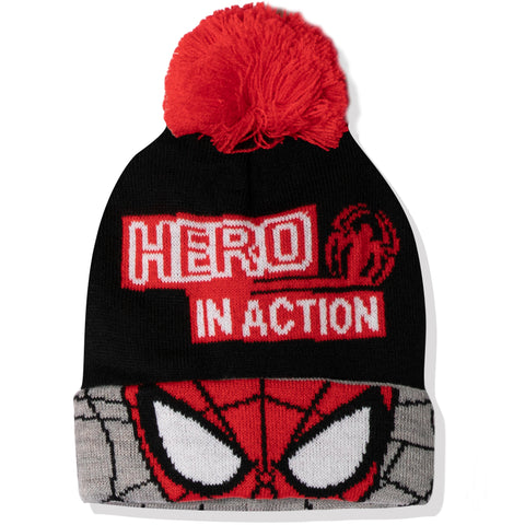 Spiderman Marvel boys winter beanie knitted hat 2-8 years - Black