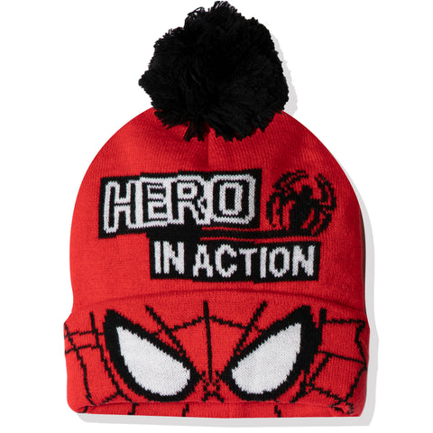 Spiderman Marvel boys winter beanie knitted hat 2-8 years - Red