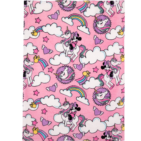 Disney Minnie Mouse Character Blanket Soft Coral Fleece 90 x 120 cm - Unicorns