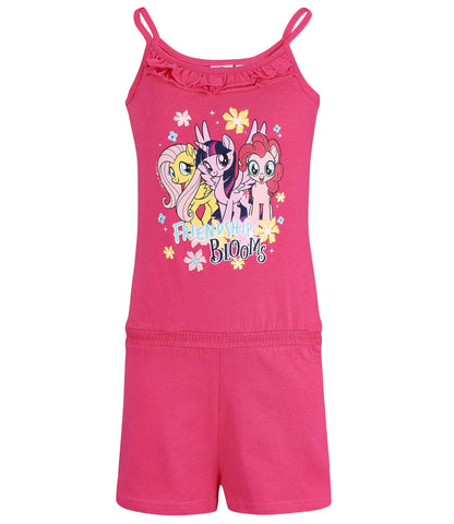 My Little Pony Girls Short Sleeve Summer Playsuit One Piece Outfit 2-8 Years - Fushia