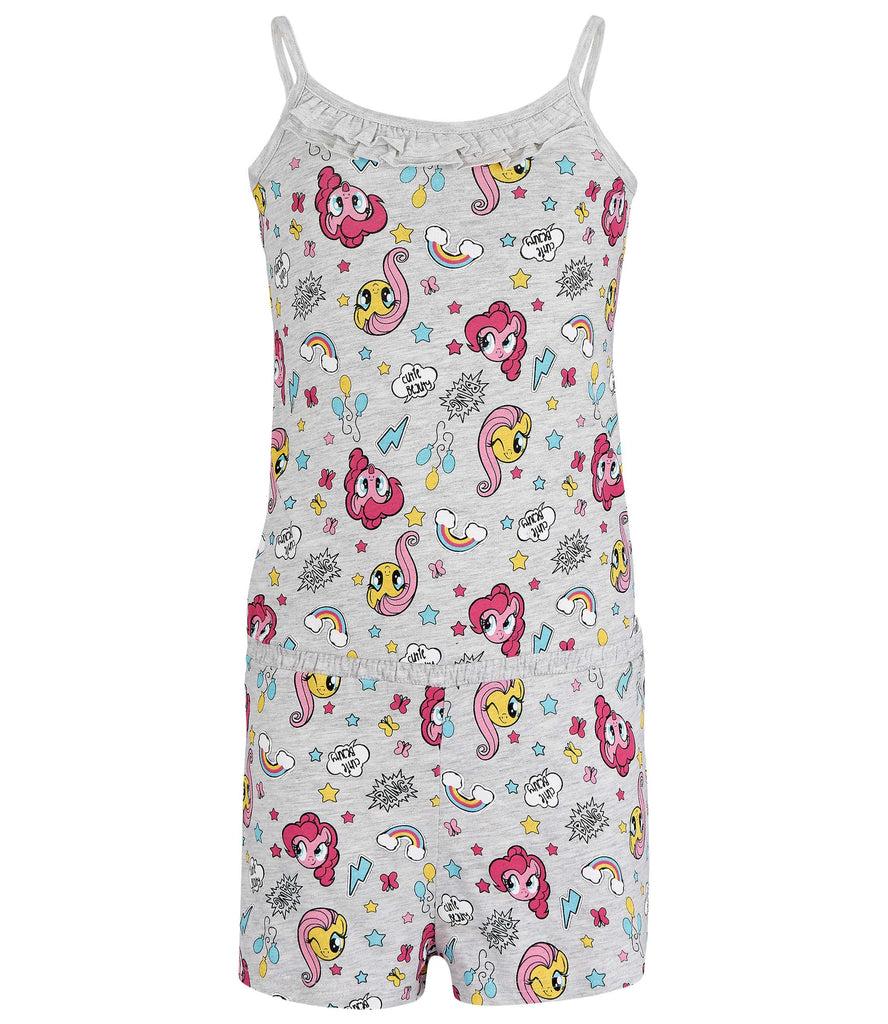 My Little Pony Girls Short Sleeve Summer Playsuit One Piece Outfit 2-8 Years - Grey