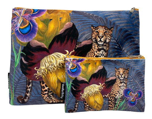 Velvet Makeup Bag and Pouch Set - Leopard Floral