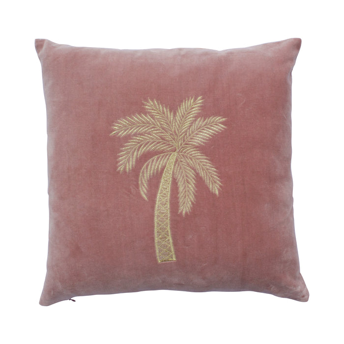 Velvet Cushion Palm Tree Pink