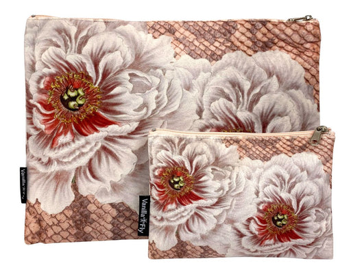 Velvet Makeup Bag and Pouch - Pink Peony