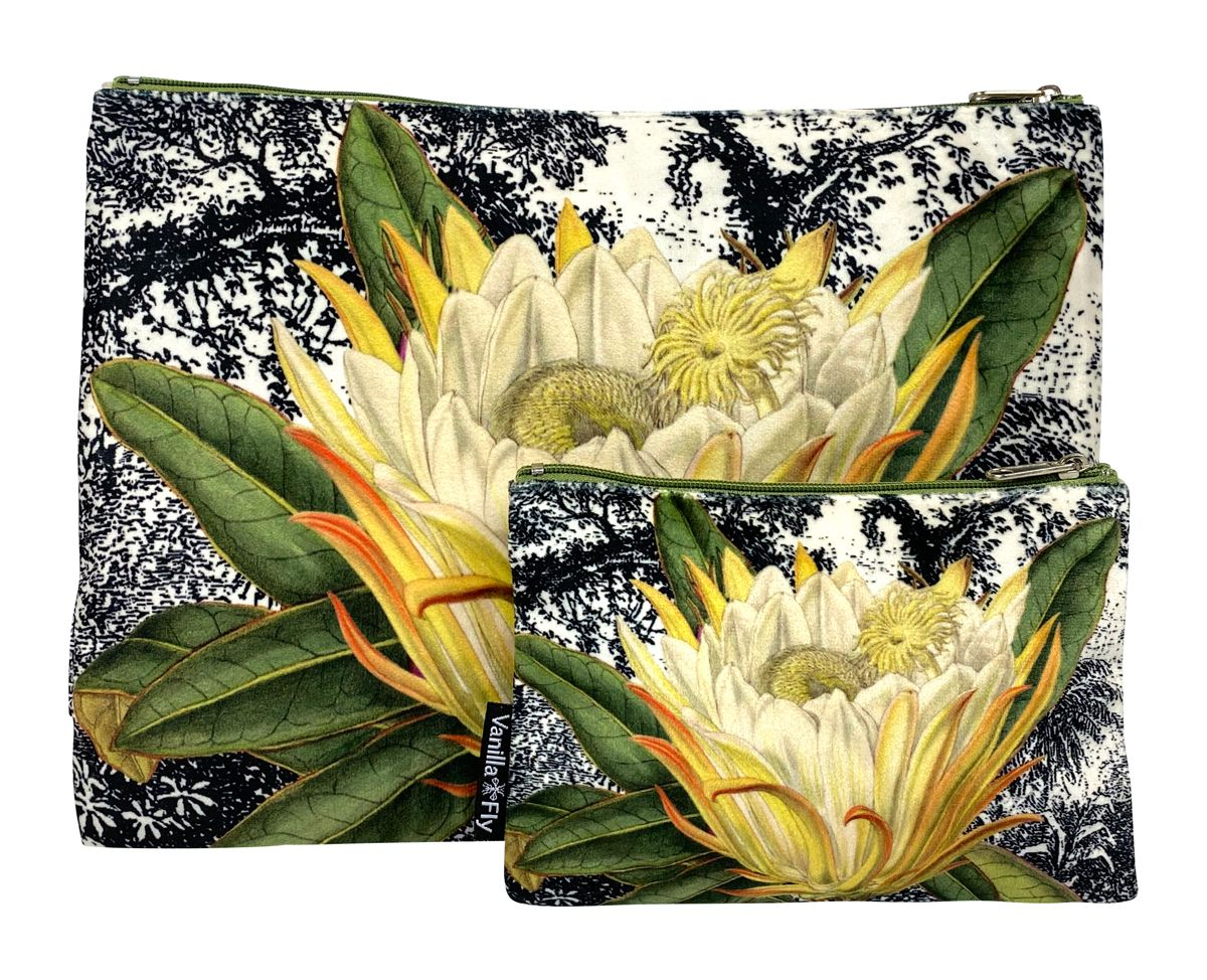 Velvet Makeup Bag and Pouch Set - Yellow Protea