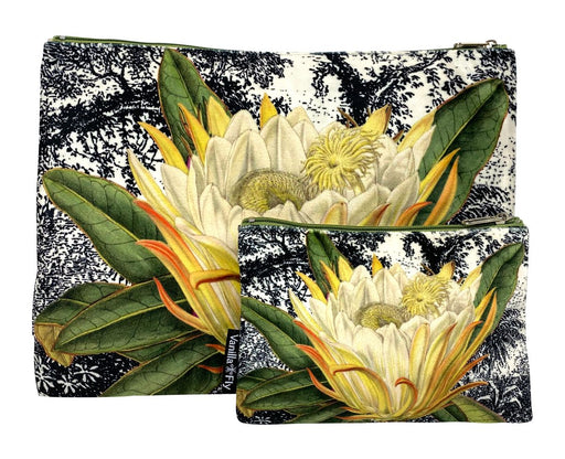 Velvet Makeup Bag and Pouch - Yellow Protea