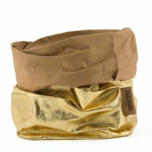 UASHMAMA Metallic Large Paper Bag Gold