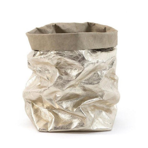 UASHMAMA Metallic Large Paper Bag Platino