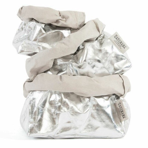 UASHMAMA Metallic Large Paper Bag Silver