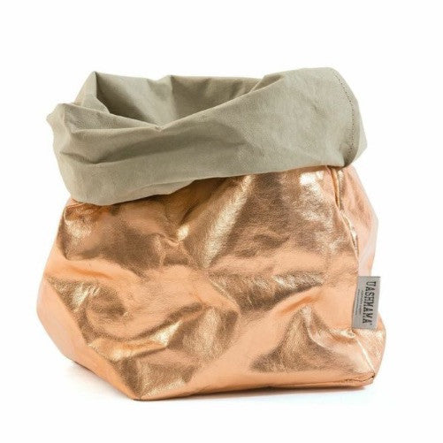UASHMAMA Metallic Large Paper Bag Rose Gold