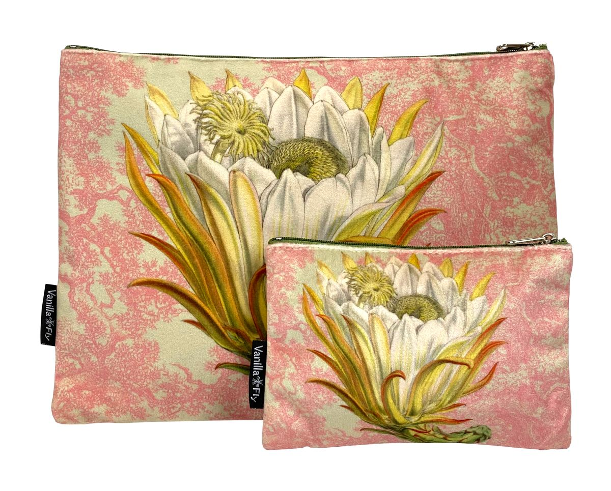 Velvet Makeup Bag and Pouch - Pink Protea
