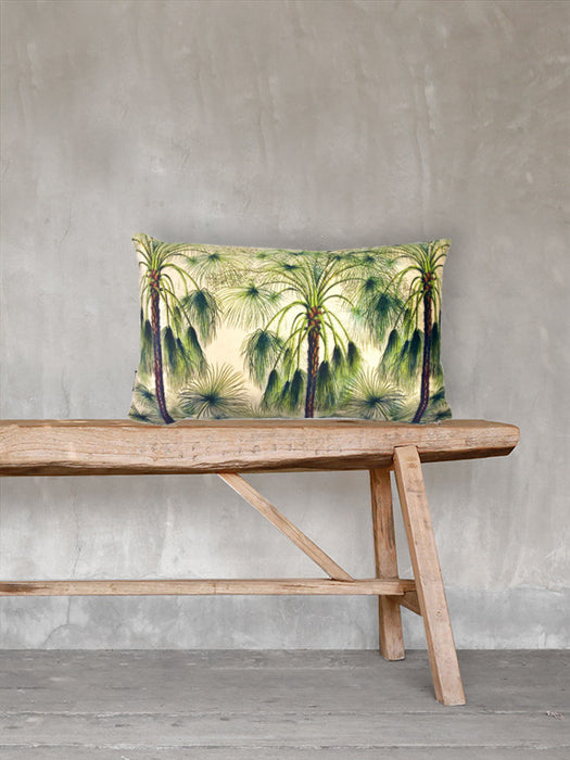 Velvet Cushion Green Palms 30x50