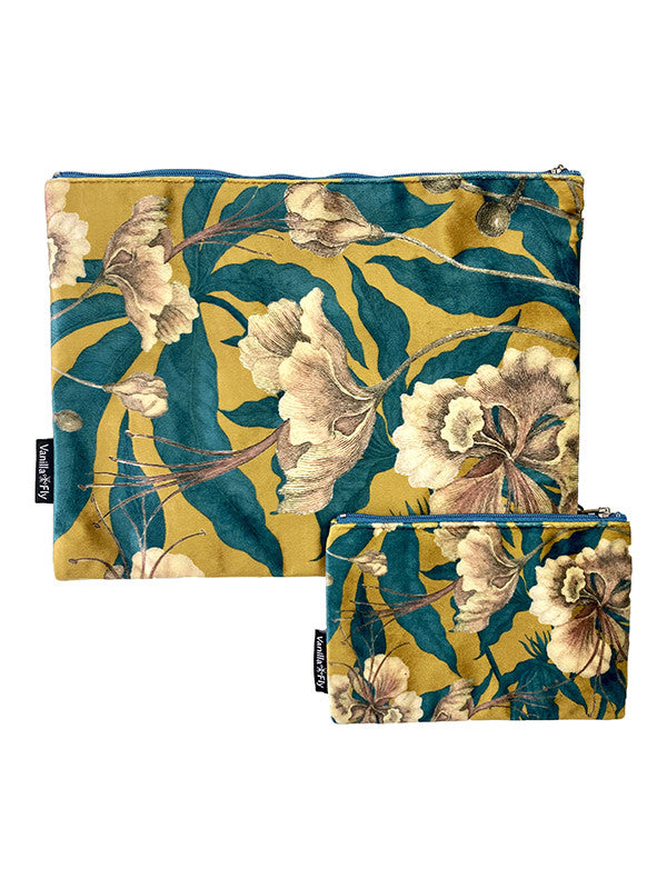 Velvet Makeup Bag and Pouch Set - Floral