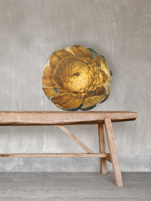 Velvet Cushion Gold Floral