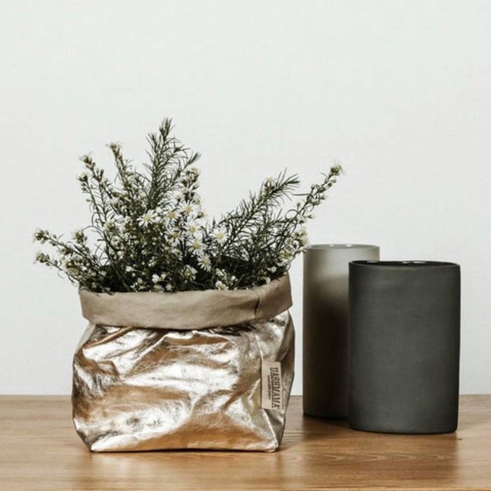 UASHMAMA Metallic Small Paper Bag Platino