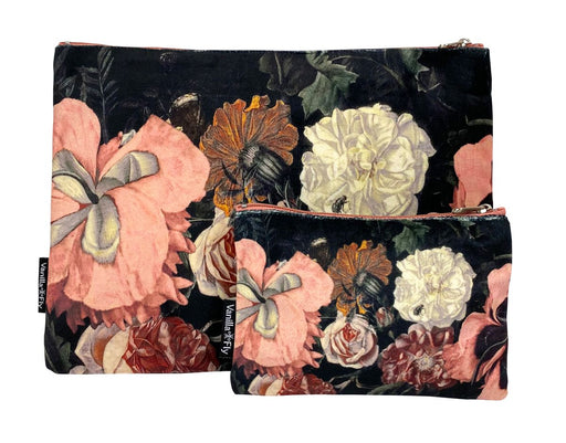 Velvet Makeup Bag and Pouch Set - Black Floral