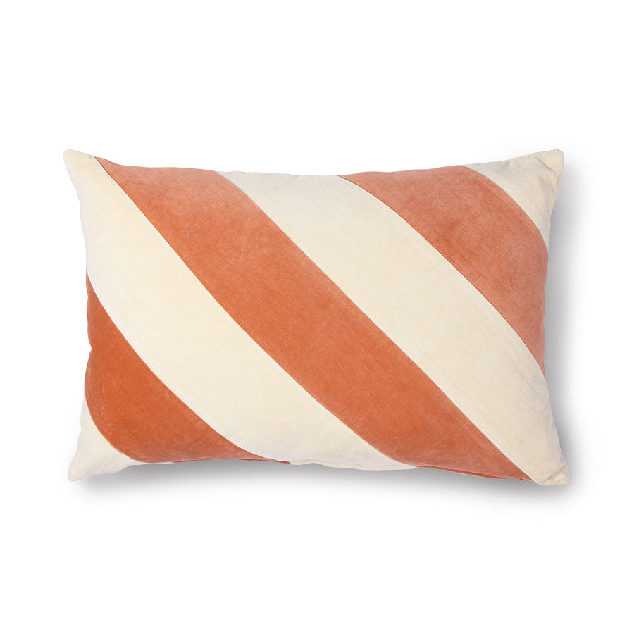 Soft Velvet Stripe Cushion Peach and Cream