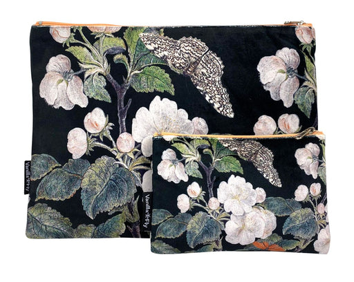 Velvet Makeup Bag and Pouch Set - Black Apple Blossom