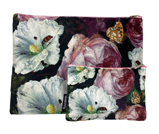 Velvet Makeup Bag and Pouch Set - Black Rose