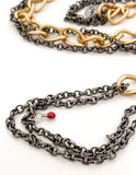 Red I Collection Vintage Gold Oxidized Silver Long Chain Costume Necklace Close Up of Red I Tag