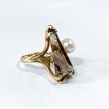 Vintage MCM 14K Yellow Gold Smokey Quartz Cultured Pearl Abstract Ring Side