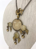 Vintage 1970s Antique Denmark Coins Silver Gold Toned Pendant Necklace Close Up