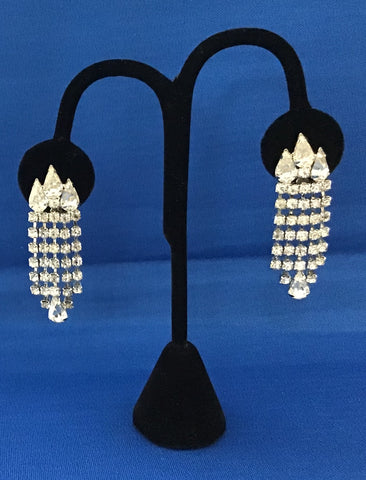 A Pair of Waterfall Rhinestone Clip Earrings by Weiss, circa 1960's