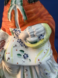 19th Century Antique Staffordshire Little Red Riding Hood Figure English Sculpture Basket Close Up