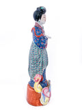 20th Century Colorful Hand Painted Lady Reading Chinese Figurine Sculpture Right Side