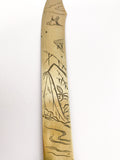 Antique Japanese Carved Illustrated Frog Scenes Brass Letter Opener Bird Etching Close Up