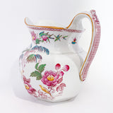19th Century Antique Wedgwood Flowers Birds English Porcelain Pitcher Slightly Turned Away From Back
