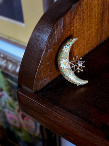 Victorian 18K Gold Floral Enamel Diamond Star Crescent Moon Brooch Pin