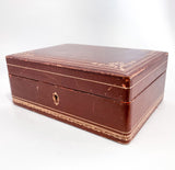 Vintage Tooled Gold Decorated Tan Leather Italian Velvet Jewelry Box Slightly Angled 2