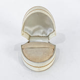 Antique Cream Leather Gilt Gold Decorated Silk Velvet Lined Ring Box Inside
