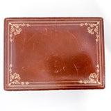 Vintage Tooled Gold Decorated Tan Leather Italian Velvet Jewelry Box Lid