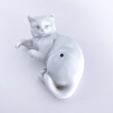 Vintage Japanese Porcelain White Reclining Playful Cat Figurine