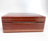 Vintage Tooled Gold Decorated Tan Leather Italian Velvet Jewelry Box Hinge
