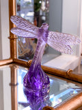 Lalique Purple Violet Crystal Dragonfly Standing Sculpture, France 21st Century