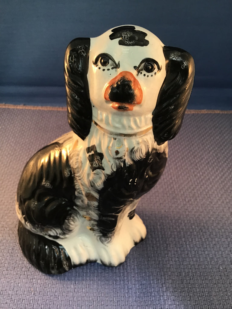 A Staffordshire Black and White Spaniel English 19th Century