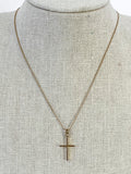 Vintage 14K Yellow Gold Chain Gold Christian Cross Pendant Necklace On Form