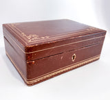 Vintage Tooled Gold Decorated Tan Leather Italian Velvet Jewelry Box Slightly Angled