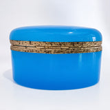 Vintage Italian Murano Turquoise Blue Opaline Glass Oval Trinket Box, 1960 Back