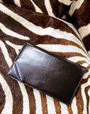 Classic Black Belgium Leather Suede Lined Medium Clutch Hand Bag