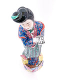 20th Century Colorful Hand Painted Lady Reading Chinese Figurine Sculpture Top