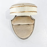 Antique Cream Leather Gilt Gold Decorated Silk Velvet Lined Ring Box Inside Velvet Base