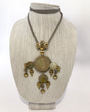 Vintage 1970s Antique Denmark Coins Silver Gold Toned Pendant Necklace On Form