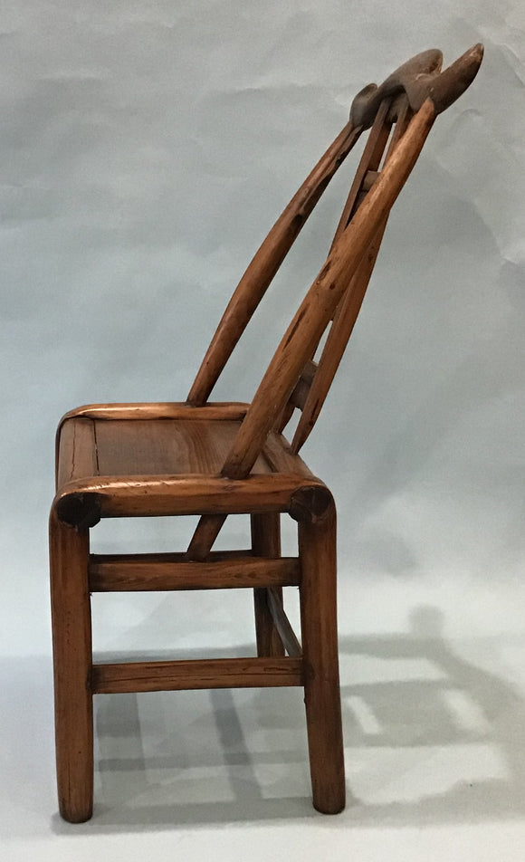A Vintage Elmwood Yoke Back Chair, Chinese, 20th Century